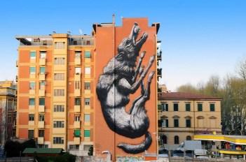 Avanguardie Urbane Roma Street Art Festival 2014 curated by Stefano S. Antonelli ROA | Jumping wolf, 2014 12X28mt, acrilici e spray su edificio privato Testaccio, Roma