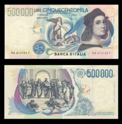 500.000 lire Raffaello Sanzio