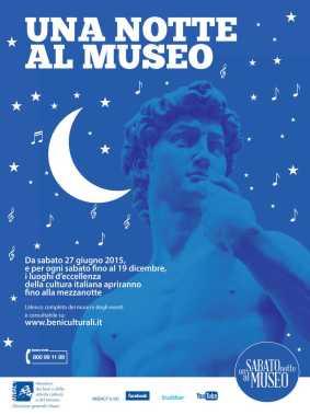 Un sabato notte al museo: apertura prolungata dei musei autonomi in tutta Italia il sabato sera dalle 20 alle 24, dal 27 giugno al 19 dicembre 2015